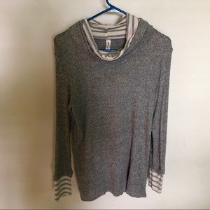 Sweaters - Cowl neck layered boutique sweater